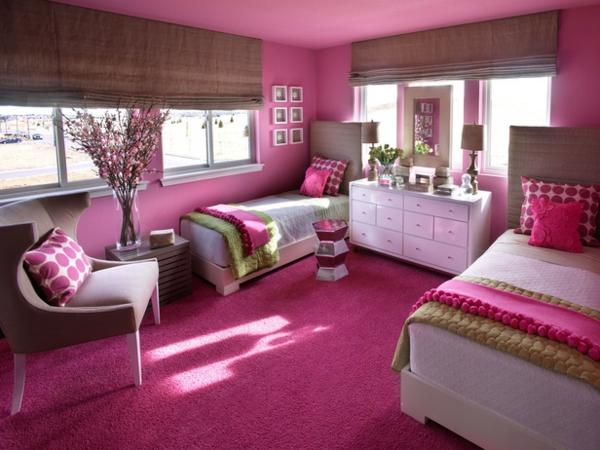 صور غرف نوم بنات باللون الوردي