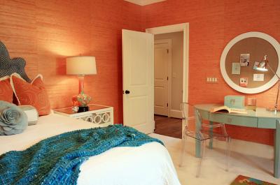 غرف نوم اولاد بدهان حوائط و جدران باللون البرتقالى اورنج)