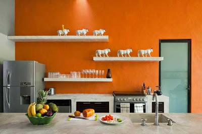 اشكال مطابخ بدهان حوائط و جدران باللون البرتقالى اورنج)