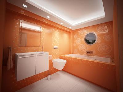 اشكال حمامات بدهان حوائط و جدران باللون ألبرتقالى أورنج)