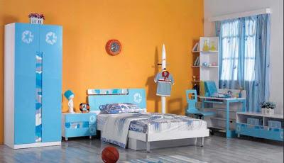 غرف نوم أولاد بدهان حوائط و جدران باللون ألبرتقالى أورنج)
