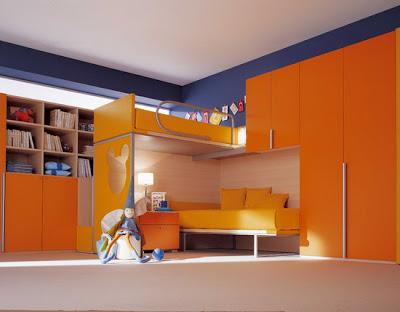 غرف أطفال بدهان حوائط و جدران باللون ألبرتقالى أورنج)