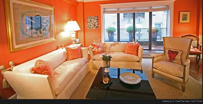 الريسبشن بدهان حوائط و جدران باللون البرتقالى اورنج)