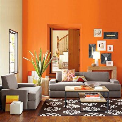 غرف معيشه  ليفنج روم  بدهان حوائط و جدران باللون البرتقالى اورنج)