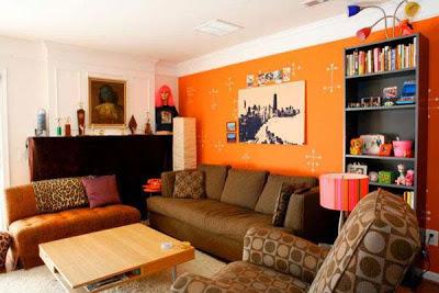 صور لديكورات اللون البرتقالى اورنج في الحوائط