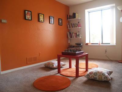 جميع  درجات اللون البرتقالى اورنج في دهان الحوائط