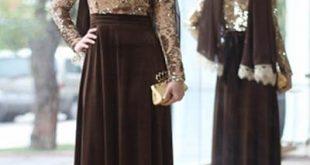 صورة احدث الفساتين الشتوية للمحجبات