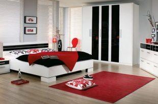صور غرف نوم باللون الاحمر والاسود والابيض