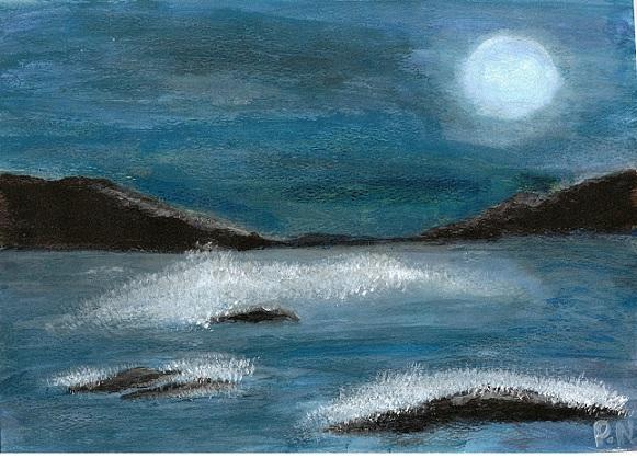 صورة حزن في ضوء القمر